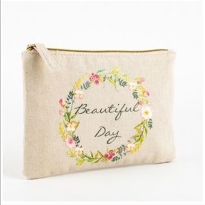 Beautiful Day Floral Canvas Zip Cosmetic Bag NWT